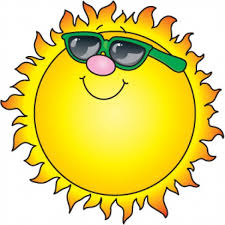 Drawing of sun with smile and sunglasses